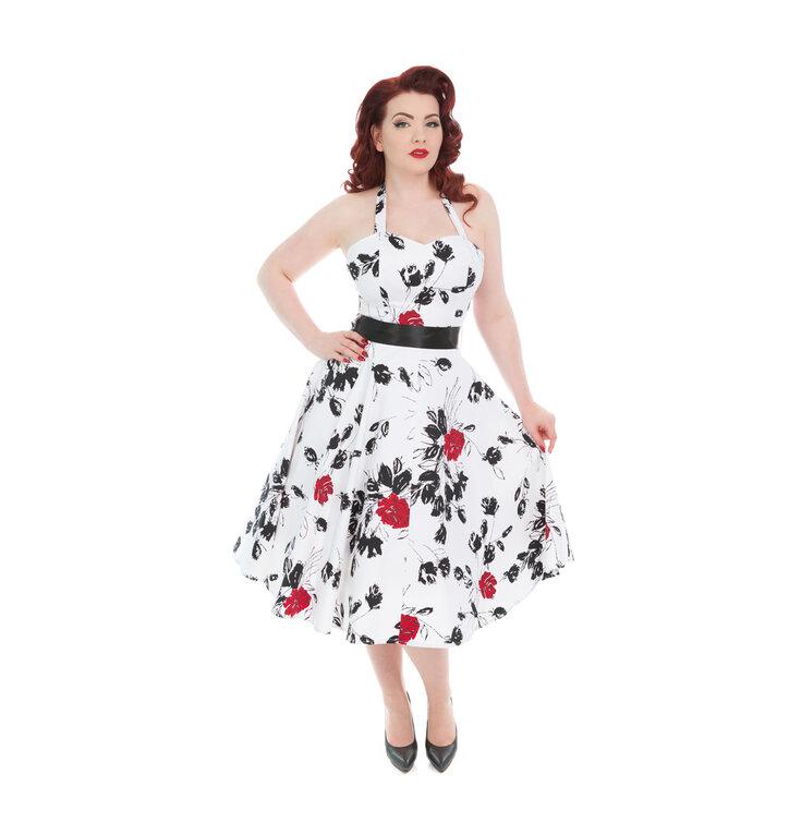 Weißes Vintage Pinup Kleid Rote Rosen | Dedoles