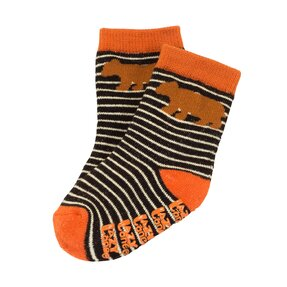 Orange gestreifte Kindersocken Teddybär - Baby